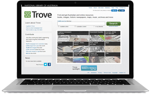 Image of laptop with Trove website