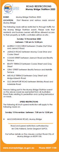 Triathlon road closure 2020